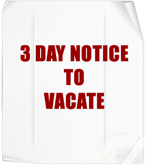 three day notice for not paying rent due